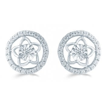 Adara Silver 0.33ct Diamond illusion set studs