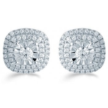 Adara Silver 0.50ct Diamond illusion set studs