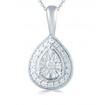 "Adara Silver 0.10ct Diamond illusion set pendant & 18"" chain"