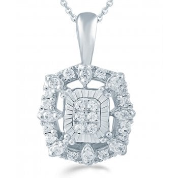 "Adara Silver 0.16ct Diamond illusion set pendant & 18"" chain"