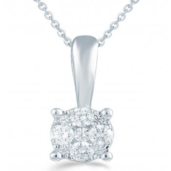 Adara Silver 0.10ct Diamond illusion set Solitaire pendant & chain