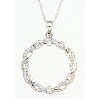 "Ingenious Silver cubic zirconia pendent & 18"" chain"