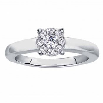 Perfect Love Silver perfect love 0.10ct diamond ring with a look of 0.33ct
