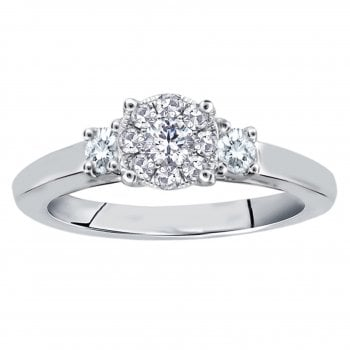 Perfect Love Silver perfect love 0.20ct diamond trilogy ring with a look of 0.50ct