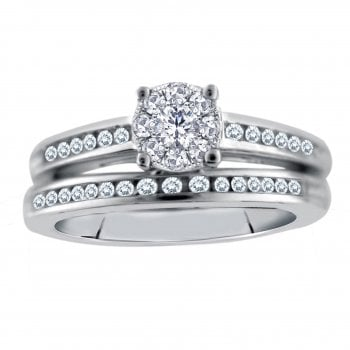 Perfect Love Silver perfect love 0.25ct diamond bridal ring with a look of 0.50ct