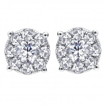 Perfect Love Silver perfect love 0.25ct diamond stud earringswith a look of 0.75ct