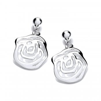 Jodie Rose Sterling Silver Rose Earrings