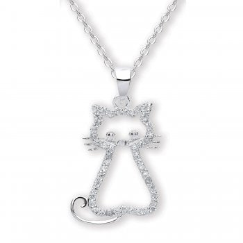 Jodie Rose Sterling Silver Crystal Cat Pendant