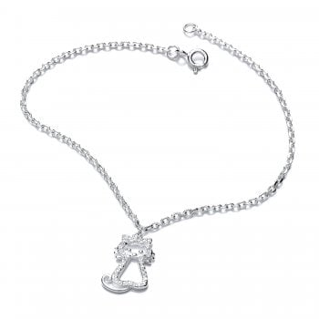Sterling Silver Crystal Cat Bracelet
