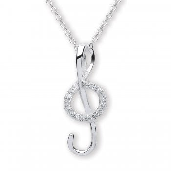 Jodie Rose Sterling Silver Crystal Music Note Pendant