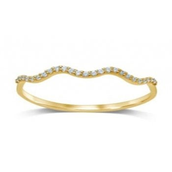 Adara 10ct YG 0.07ct Diamond Wave Stackable Ring
