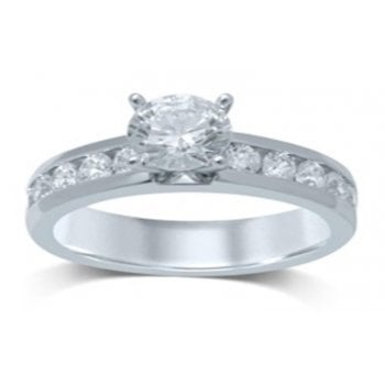 Adara 14ct WG 0.85ct Diamond And Channel Set Shoulder Ring