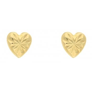 Adara 9ct YG d/cut heart studs