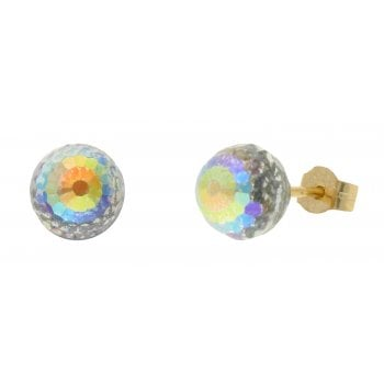 Adara 9ct YG 6mm AB crystal ball studs