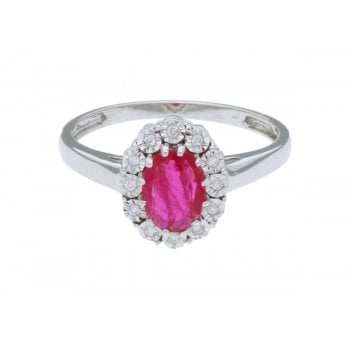 Adara 18ct wg 1.00ct ruby & 0.06ct diamond ring