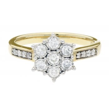 Adara 9ct YG 0.39ct Diamond Cluster Ring With Dia Set Shoulders