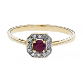 Adara 9ct YG 0.04ct Diamond & Ruby Ring