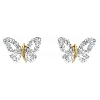 Adara 9ct Two Tone 0.06ct Diamond Set Butterfly Studs