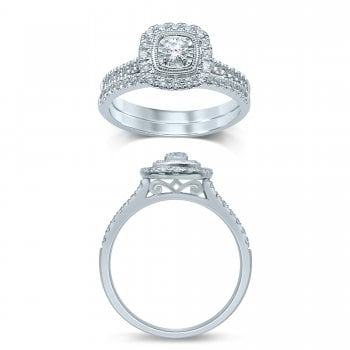 Adara 9ct WG 0.40ct Diamond Cluster Ring