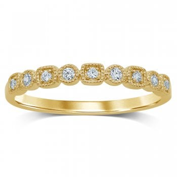 9ct YG 0.13Ct Diamond Half Eternity Ring