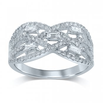 Adara 14ct WG 0.75ct Diamond Cluster Ring