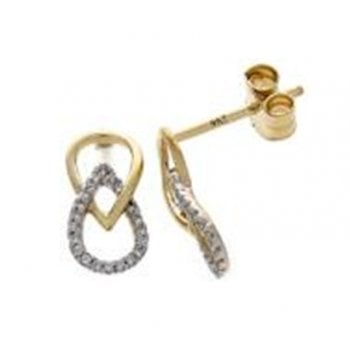 Adara 9ct yellow gold 0.08ct diamond earrings