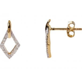 Adara 9ct yellow gold 0.11ct diamond earrings