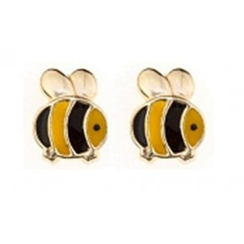 Adara 9ct yellow gold enamel bumblebee studs