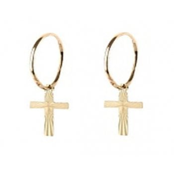 Adara 9ct yellow gold 12mm lightweight tube hoops with a diamond cut cross charm