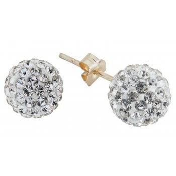 Adara 9ct yg 6mm crystal ball studs