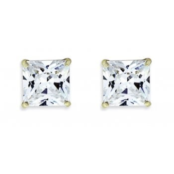 Adara 9ct yg 6mm square cz studs