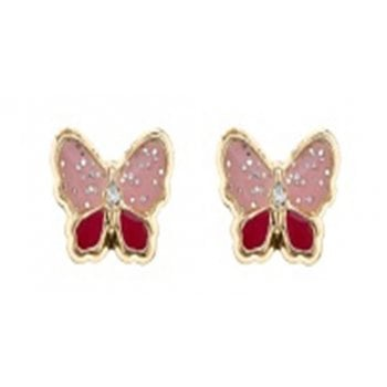 Adara 9ct yg enamelled butterfly studs with crystal