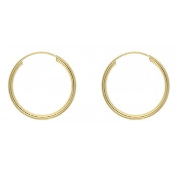 Adara 9ct yellow gold 12mm tube hoops