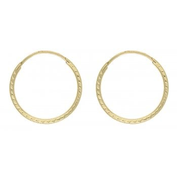 Adara 9ct yellow gold 15mm diamond cut tube hoops