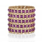 gold wide stretch cuff with purple square stones