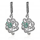 black rhodium chandelier earrings with pave flower design