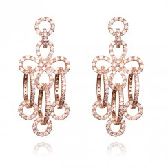 rose gold chandelier earrings with hanging circles