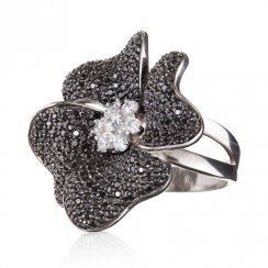 sterling silver black flower ring with black cubic zirconia stones