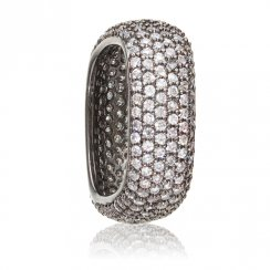 black rhodium plated square pave stacking ring