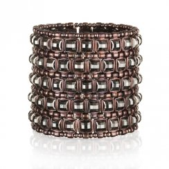 chocolate wide stretch cuff with black square stones