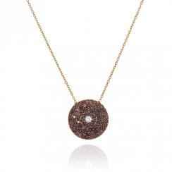 gold necklace with large brown pave disc