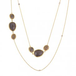 gold necklace with labradorite stones
