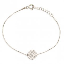silver bracelet with pave circle