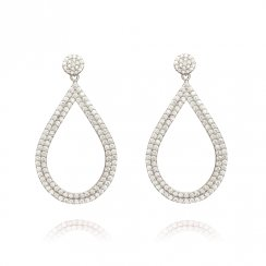 silver earrings with open pave pear