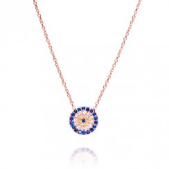 rose gold necklace with round evil eye