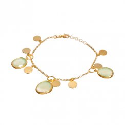 gold bracelet with coins and opal pacific stones