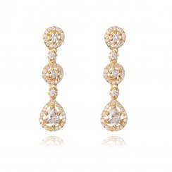 gold three drop pave earring