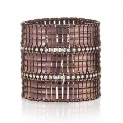 chocolate stretch cuff with two rows of cubic zirconia