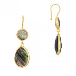 gold earrings with two drop labradorite stones