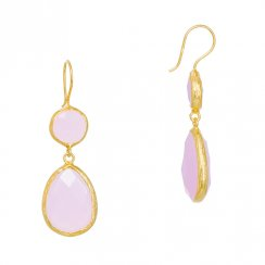 gold earrings with two drop pink quartz stones